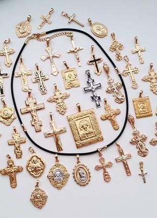 Жгут каучук с элементами из медсплава с кулонами из медсплава крестик медальон иконки