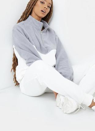 Объёмный белый худи тёплый  флис унисекс оверсайз худі бобка спортивка свитшот уніс