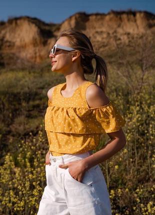 Блуза норма батал с волнами в горошек