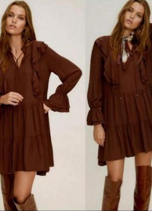 Платье манго mango бохо коричневое воланы