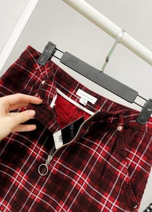 Мини юбка в клетку с модным кольцом 🔥 100% коттон
