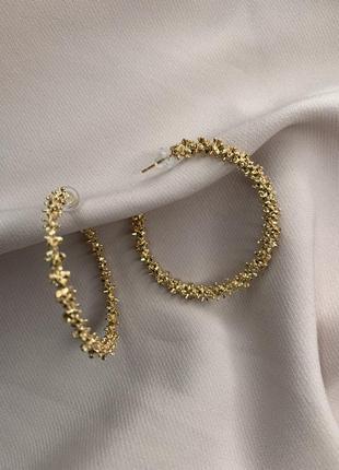 Круглые серьги с золотым напылением