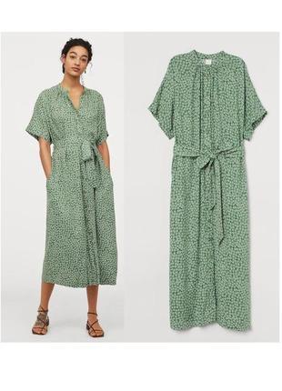 Вискоза стильное миди платье рубашка оверсайз h&m сукня сорочка платье в цветочный принт штапель