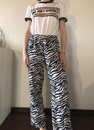 Штаны с принтом зебры