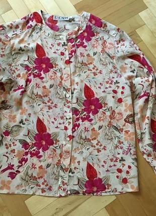 Настоящий винтаж! блуза 100% шелк цветочный принт пог 49 см от люкс бренда escada