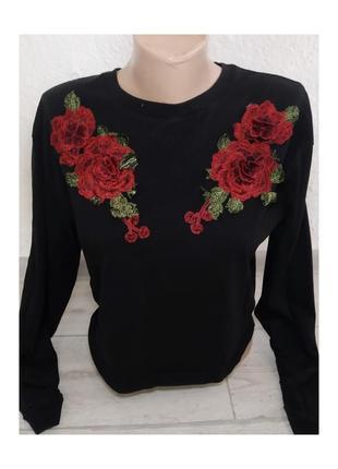 Актуальный джемпер, кофта, свитшот, с вышивкой, розы, стильная, модная