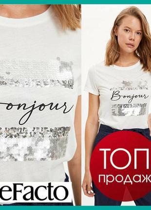 Белая женская футболка defacto / дефакто с принтом bonjour и паетками