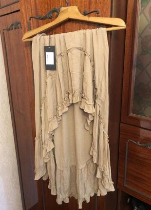 Новая юбка трапеция с рюшами тренд 2021