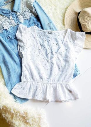Белая базовая блузка кофточка футболка майка топ короткий рукав хлопок натуральная zara