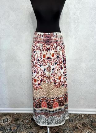 Летняя юбка на резинке коралловая