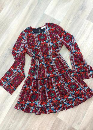 Плаття стиль бохо коротке рукави кльош