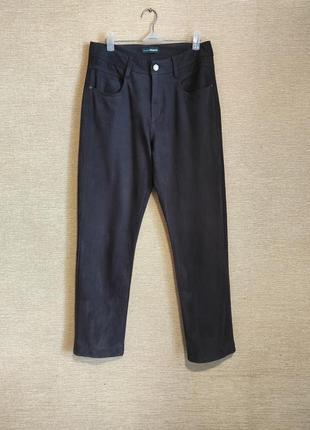 Замшевые штаны брюки джинсы высокая посадка