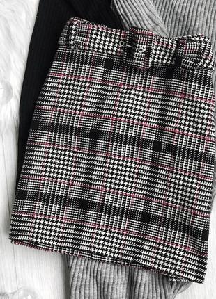Стильная серая юбка в клетку с поясом 🖤🤍 primark
