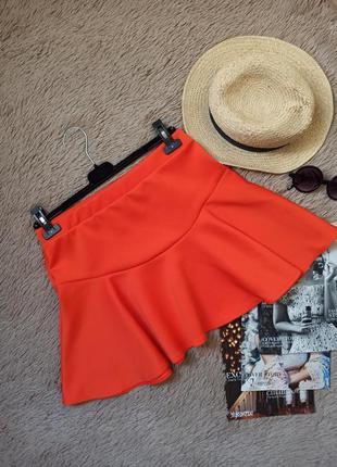 Яркая мини юбка с воланом/короткая юбка