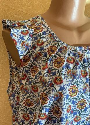Удлиненная блузка футболка в цветок