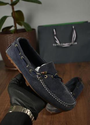 Tommy hilfiger оригинал! женские мокасины замшевые кожаные синие размер 39