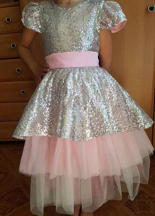 Нарядное платье для принцессы на  выпускной в садике. 122-128размер