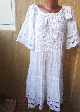 Невесомое натуральное белое платье ярусами свободного кроя италия