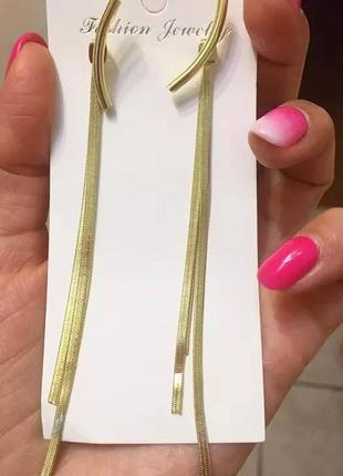 Сережки золото трансформеры золоті серьги тредові длині длинные4 фото