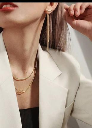 Сережки золото трансформеры золоті серьги тредові длині длинные2 фото
