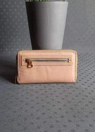 Кожаный бежевый кошелек real leather
