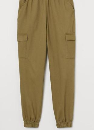 Женские брюки  на резинке джоггеры карго с накладными карманами высокая посадка