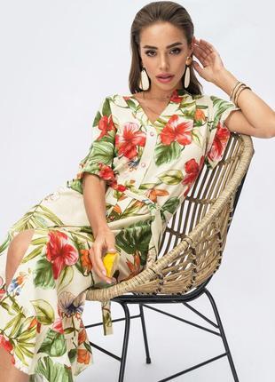 Последнее! легкое штапельное платье в тропический цветочный принт с коротким рукавом миди ниже колен