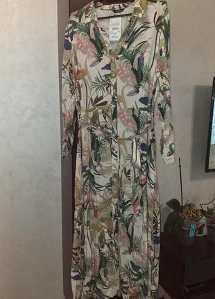 Платье длинное платье-рубашка вискоза флористический принт батал
