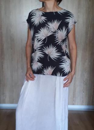 Блузка с открытой спиной тропическмй принт р м