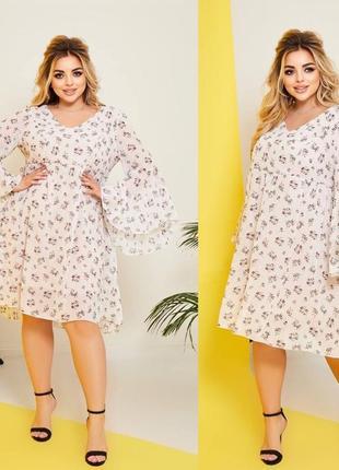 Женское платье цветочный принт шифон батал размеры 48-58