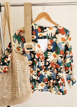 Шелковая блуза в ромашки 100% шёлк