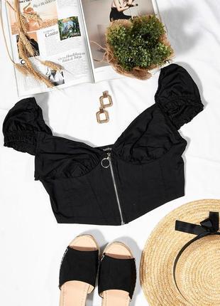 Черный топ в деревенском стиле, модный топ корсет, женский топик летний