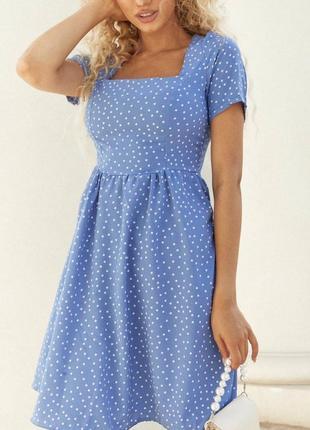 Женское лёгкое платье принт горох