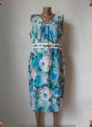 """Новое с биркой нарядное платье миди со 100 % хлопка цветы """"бирюза"""", размер хл"""