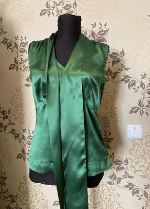 Топ, блуза изумрудная из натурального шелка, шёлк, шовк