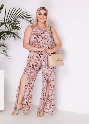 Женский костюм цветочный принт топ и штаны с разрезами батал размеры 48-58