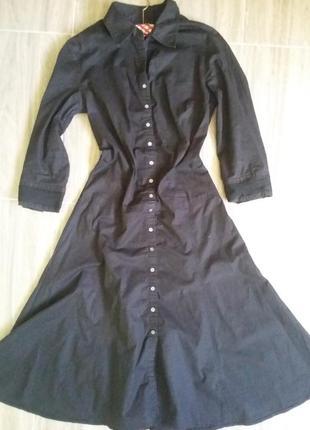 Чорное платице с рубашковым воротником linea