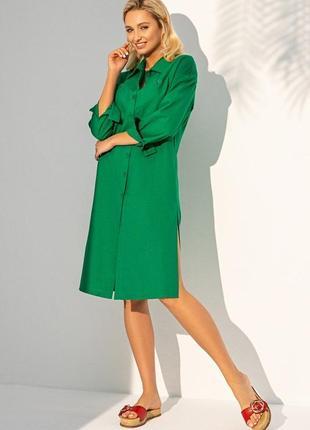Зелёное платье-рубашка