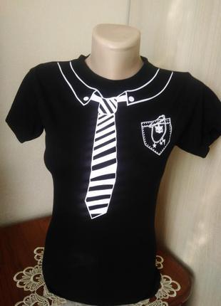 Чорна жіноча футболка з галстуком /женская футболка