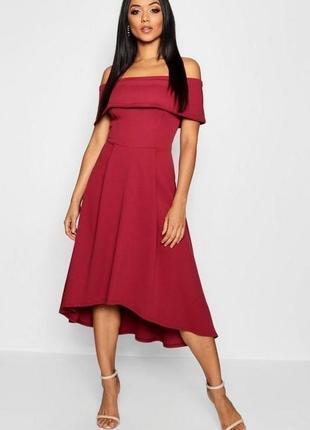 Распродажа!!! актуальное вечернее нарядное миди платье со спущенными плечами №516