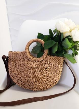 Соломенная сумка через плечо, летняя сумка соломенная