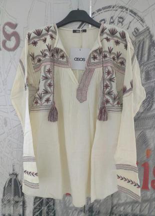 Блузка asos с вышивкой, брендовая как вишиванка