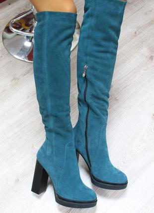 Зимние натуральные замшевые сапоги ботфорты на каблуке (36-40)