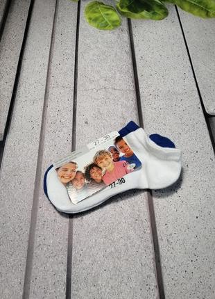 Носочки детские набор две пары синие и белые короткие
