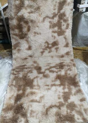 Мягкий пушистый коврик с высоким ворсом - 100х200 см - молочный