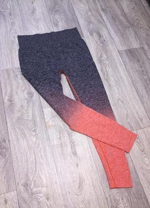 Лосины леггинсы спортивные с градиентом quickdry с широким поясом для фитнеса