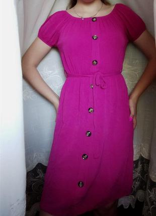 Яркое хлопковое платье цвета фуксии италия