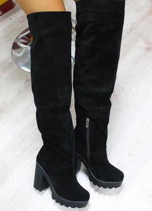 Зимние натуральные замшевые сапоги -ботфорты на удобном каблуке (36-40)