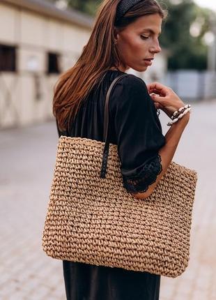 Летняя пляжная сумка плетеная вязаная сумка