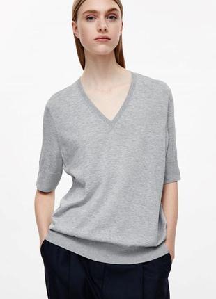 Широкий топ блузка футболка с v-вырезом хлопок + шёлк